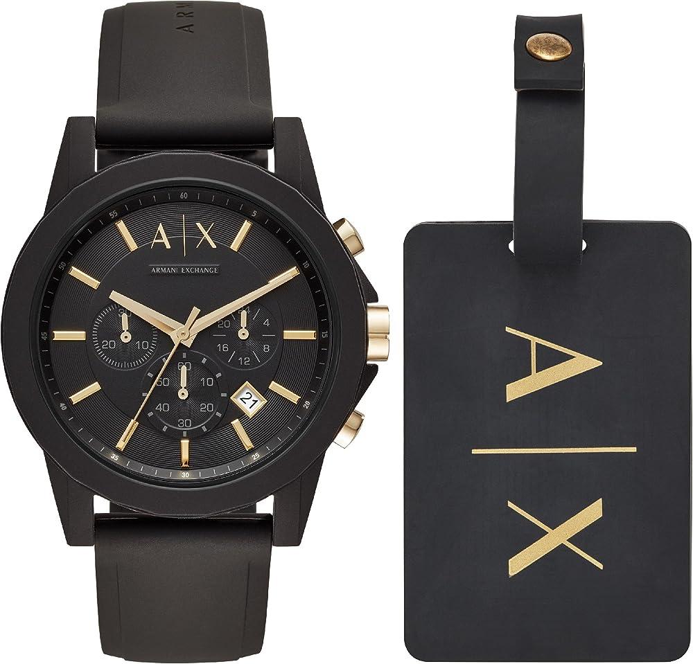 Armani exchange, orologio, cronografo per uomo,cassa in acciaio inossidabile,cinturino in silicone AX7105