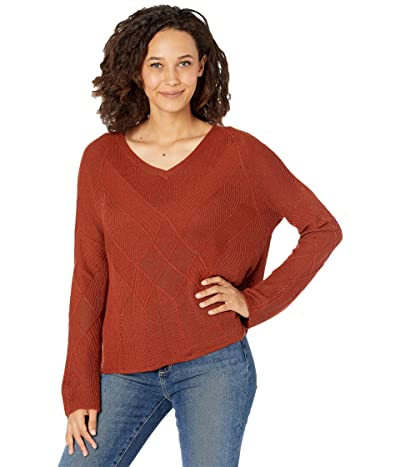 Smartwool Shadow Pine Cable V-Neck Sweater (Ginger Heather) Women