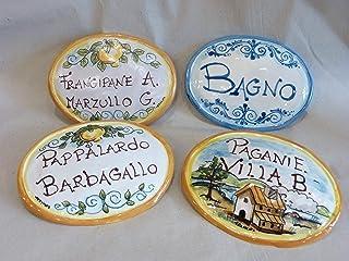 targa nome per porta Ceramica personalizzata ovale 13 cm