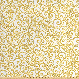 Ambesonne Victorian Fabric by The Yard, Floral Ivy Swirls in Golden Yellow Shade Antique Motif Inspired Art Print, Decorative Fabric for Upholstery and Home Accents, 1 Yard, Yellow White
