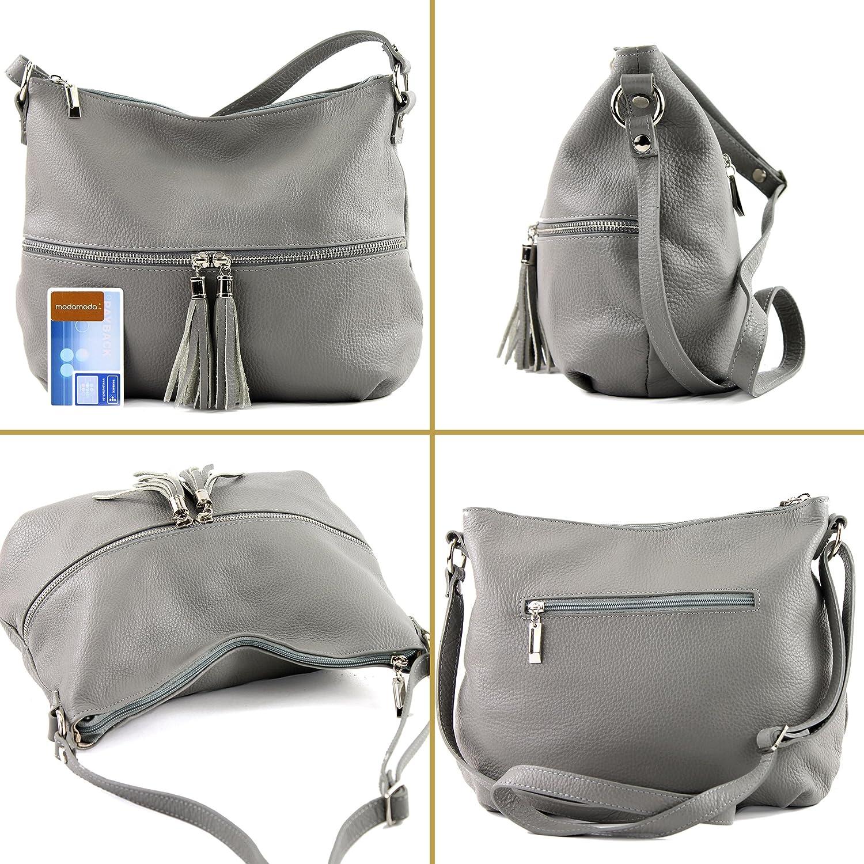 modamoda de - Ital Umhänge- / cuir sac à bandoulière T159 Jaune Moutarde