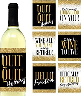 6 Premium Retirement Party Gift Wine Bottle Labels or Stickers For Men or Women, Quit Quit Hooray, Funny Officially Retired Decoration Supplies for Teacher, Nurse, Coworker, Boss, Friend, Mom, Dad