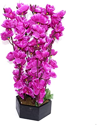 Pindia Artificial 9 Stems Purple Blossoms Flower Bunch Plant with Wooden Pot for Home and Office Décor (Size 16 inchs/40 cms, Purple)
