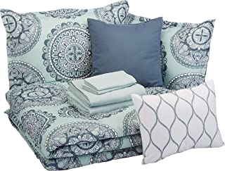 AmazonBasics 10-Piece Comforter Bedding Set, Full / Queen, Sea Foam Medallion, Microfiber, Ultra-Soft