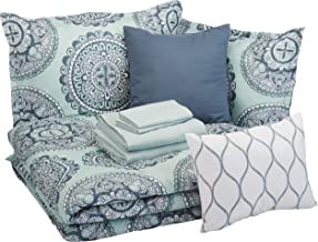 Amazon Basics 10-Piece Bed-in-a-Bag - Soft, Easy-Wash Microfiber - Full/Queen, Sea Foam Medallion