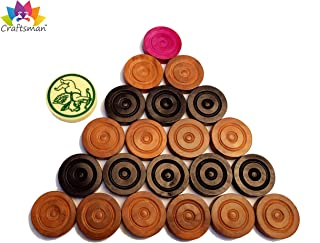 CRAFTSMAN Carrom Coin Made of Solid Indian Wood. Complete Set of 24 Coins Wood Carrom Coins + 1 Premium Striker. Carrom Checker Carrom Coin Carrom Checkers