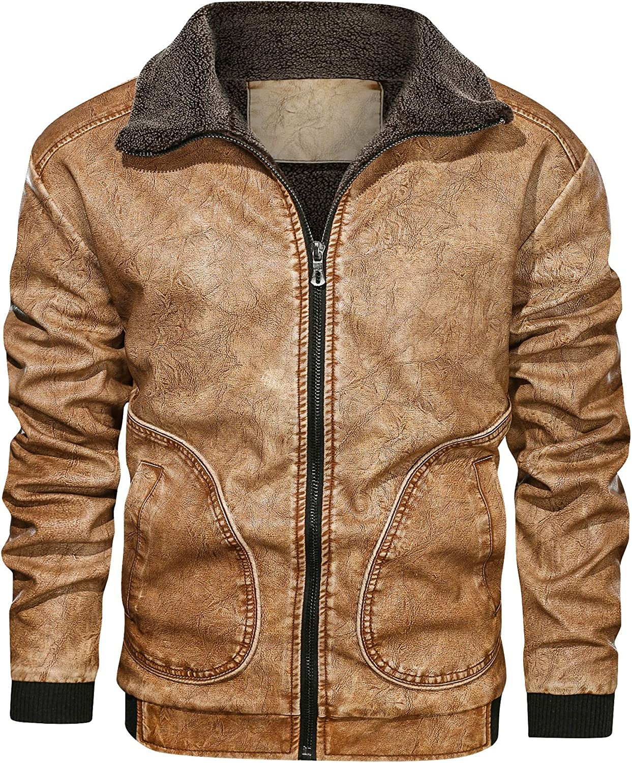 OLBGELYING 2020NEW Leather Jackets Winter Fleece Thick Men Jacket European size Dropshipping