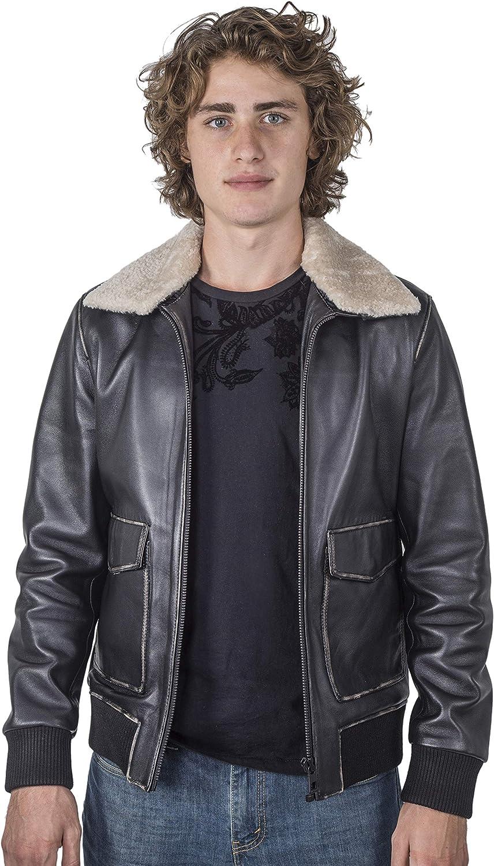 Men's Leather Bomber Jacket - Genuine Leather Aviator Jacket - Real Lambskin Shearling Coat - Leather Flight Jacket