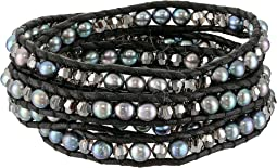 Chan Luu - Sterling Silver 5 Wrap Bracelet on Leather with Fresh Water Pearls and Crystals