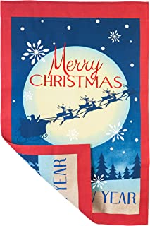 Evergreen Embroidered Vintage Merry Christmas Burlap House Flag, 28 x 44 inches