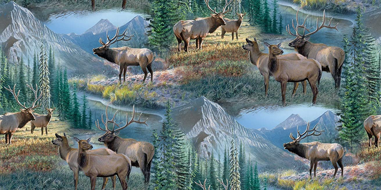 Springs Creative Products Wild Wings Mountain Sky Elk Scenic Fabric by The Yard, 43/44-Inch Wide, Multi-Colored