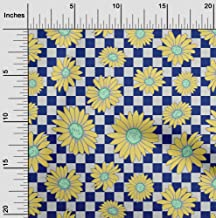 oneOone Cotton Cambric Blue Fabric Sunflower Floral Quilting Supplies Print Sewing Fabric by The Yard 42 Inch Wide
