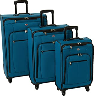 American Tourister AT Pops Plus Softside 3-Piece Spinner Wheel Luggage Set, Moroccan Blue, (21/25/29)