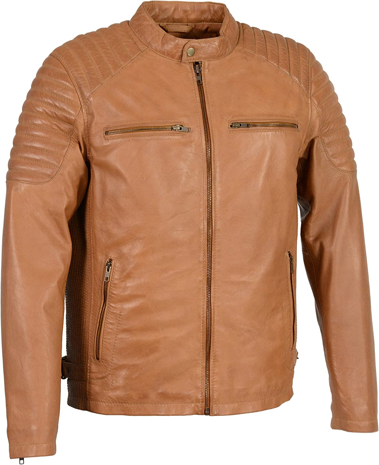 Men's Snap Collar Leather Jacket w/Quilted Shoulders