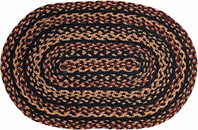 """IHF HOME DECOR Oval Table Placemat 13"""" X 19"""" Braided Rug New BLACKBERRY DESIGN Jute Fabric - Set of 4"""
