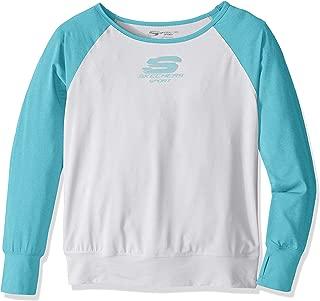 Skechers Big Girls' Sport Long Sleeve T-Shirt, White, Medium