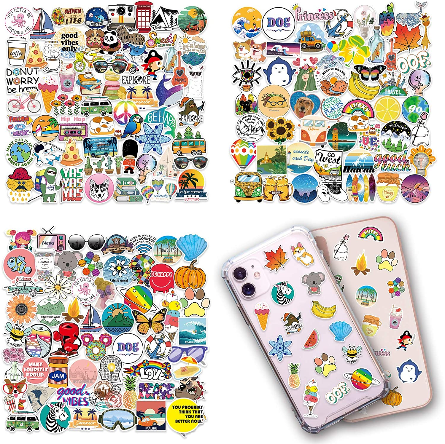 200 pcs Mini Stickers, Phone Case Stickers Vsco Waterproof Vinyl Small Stickers Mixed 4 Sheets for Airpods Case, Laptop, iPad, Water Bottle, Cup, Mug, Notebook