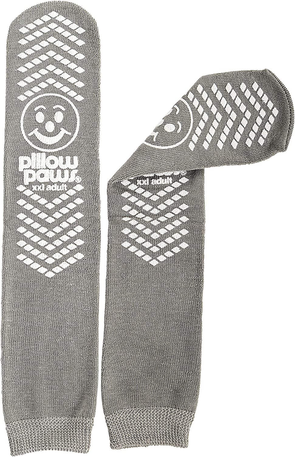 XXL Gray Double Tread Slip Stop Socks from Pillow Paws (Terrycloth) (2 Pairs)