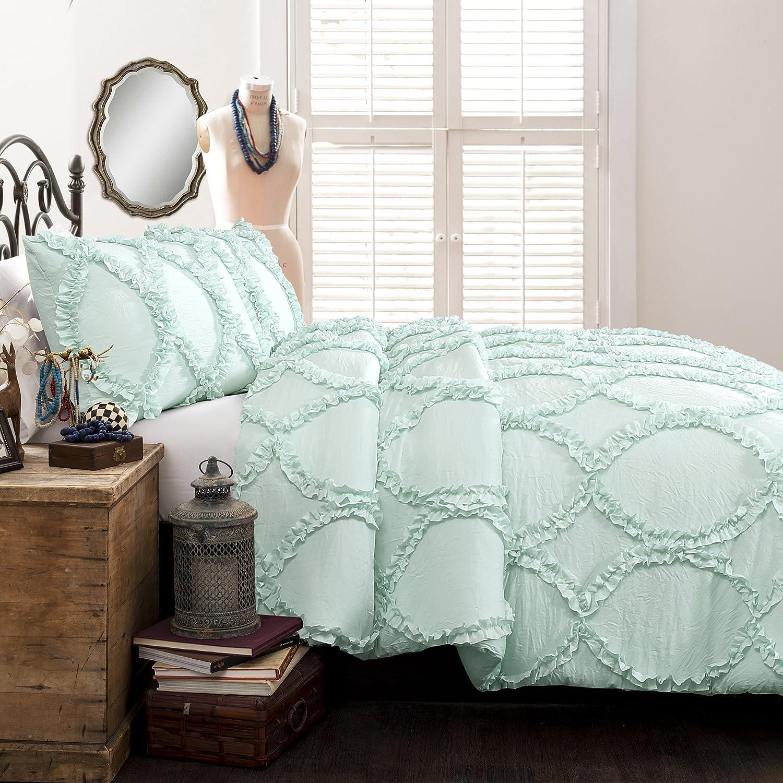 Lush Decor Avon 3 Piece Comforter Set, Full Queen, Aqua