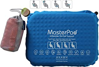Master Pad Lumbar Support Self-Inflatable Pillow Travel, Home Office. This Back Relief - Cushion is Lightweight, Rolls up is Portable Easy Carrying. Padded. Cotton Feel. (Blue)