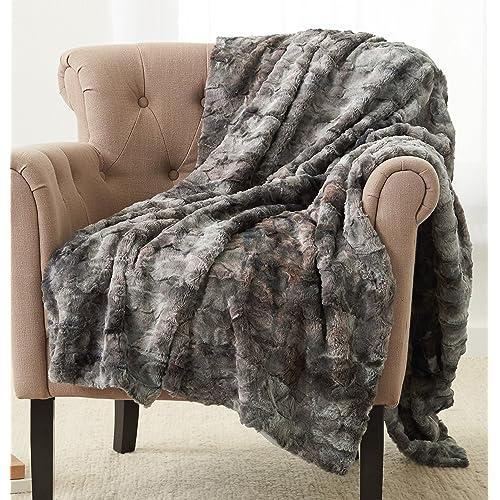 "Pinzon Faux Fur Throw Blanket 50"" x 60"", Frost Grey"