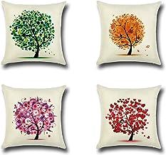 مجموعة أغطية وسائد من آي ديزاينز مكونة من 4 أغطية وسائد من الكتان القطني للأريكة، والأريكة والسرير. أشجار ملونة 18 × 18 بو...