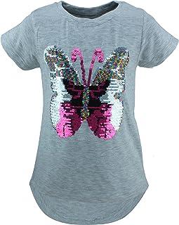 Unbekannt Schmetterling Kinder Mädchen Wende Pailletten Lang T-Shirt Bluse Kurzarm Tunika