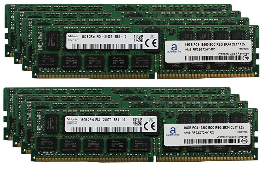 拍手皮教Hynix オリジナル 128GB (8x16GB) サーバーメモリアップグレード HP Proliant DL580 Gen 9 DDR4 2400MHZ PC4-19200 ECC 登録チップ 2Rx4 CL17 1.2v DRAM RAM Adamanta