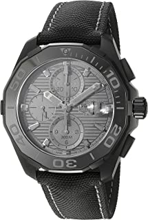 TAG Heuer Men's Aquaracracer Titanium Swiss-Automatic Watch with Canvas Strap, Black, 20 (Model: CAY218B.FC6370)