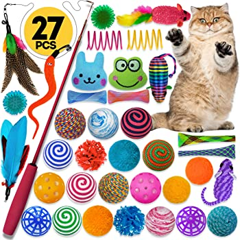 Cowfish Cat Toys Kitten Toys Assortments, 27PCS Variety Toy Set Including Cat Feather Teaser Wand, Feather Toys, Mice, Catnip Toys, Colorful Balls, Bells for Cat, Kitty, Kitten