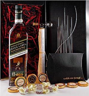 Geschenk Johnnie Walker Green Label 15 Blended Malt Whisky  Glaskugelportinierer  Edelschokolade  Fudge