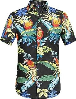 SSLR Men's Parrots Leaves Button Down Casual Short Sleeve Hawaiian Shirt