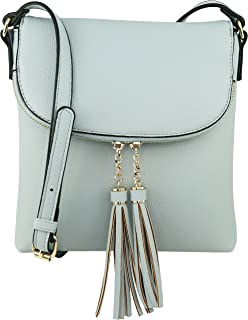 Vegan Medium Flap-Over Crossbody Handbag with Tassel Accents