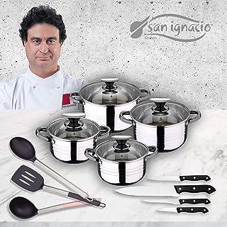 San Ignacio Premium - Bateria de 4 piezas de acero inoxidable, 4 cuchillos y 3 utensilios, acero inoxidable, 1.9L -2.7L -3.5L-5.1L