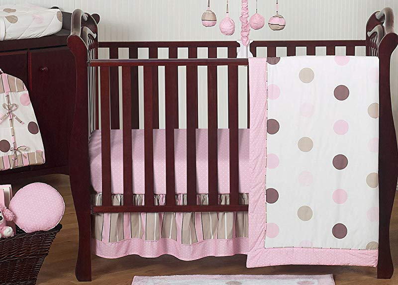 Sweet Jojo Designs 11 Piece Contemporary Pink And Brown Modern Polka Dot Baby Girl Bedding Crib Set Without Bumper