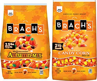 Brach's Candy Corn and Autumn Party Mix Duo, 2.5 Pound Bulk Candy Bag (Pack of 2) Halloween Candy