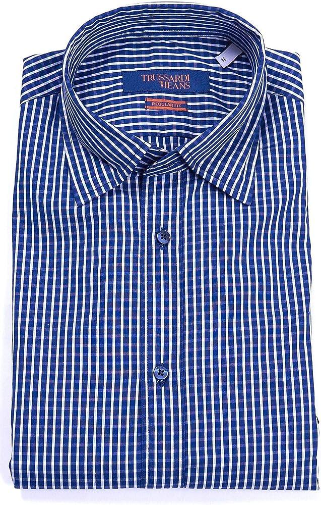 Trussardi jeans, camicia da uomo a quadri, maniche lunghe, 100% cotone 52C00170-AI20-U260-38