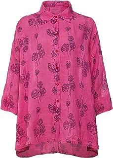 Grizas Women's Linen Rose Print Shirt Pink