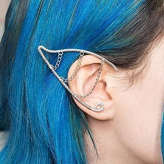 Falastur earcuff Orecchini orecchie elfiche gioiello in filo wire argentato e catenine per costumi e matrimoni stile boho ...