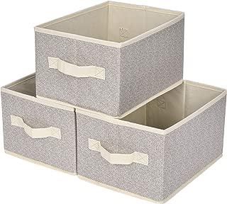 Tebery 3-Pack Grey Linen Storage Basket Foldable Storage Cube Bin Set with Handles for Shelves Closet Storage