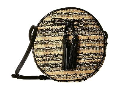 Patricia Nash Ebbe Woven Straw Sibari Canteen Crossbody (Black) Cross Body Handbags