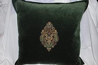 Ralph Lauren Bohemian Muse Bayfield Green Velvet Decorative Pillow with Gold Crest 18