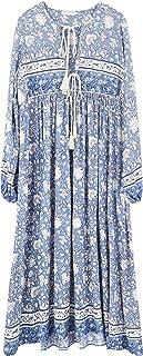 R.Vivimos Women's Long Sleeve Floral Print Retro V Neck...