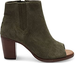 Women's Majorca Peep Toe Bootie Tarmac Olive Suede Quilted Sandal