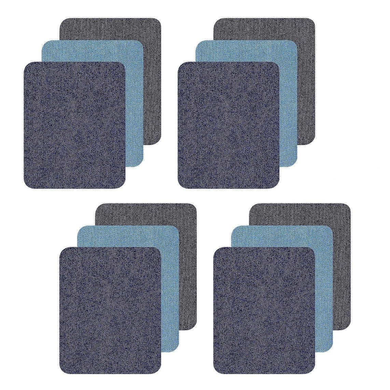 Denim Patches, Iron On Jacket Jeans Repair Kit,12 Pieces No-Sew Denim Patches,4 Pcs Per Colors 4.9 x 3.7 Inches