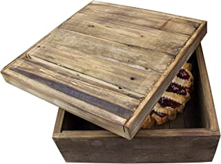 Red Co. Natural Wood Pie Bread Storage Box - 14