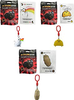 Exploding Kittens Card Game Exclusive Figure Hanger Blind Pack Set of 3 - Includes 1 Random Figure and Card per pack