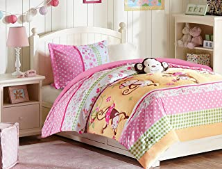 All American Collection 3 Piece Twin Size Pink Monkey Comforter Set with Furry Friend, Matching Sheet Set and Curtain Se
