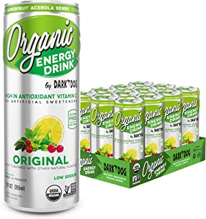 ORGANIC Energy Drink by Dark Dog – Original | 12 Oz (12Count) | Powerful Organic Caffeine From Green Coffee, Green Tea & Guarana | High In Antioxidant Vitamin C From Superfruit Acerola Berry |