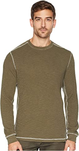 Softest Slub Waffle Thermal Long Sleeve Side Panel Contrast Stitch Crew